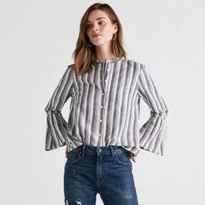 Lucky Brand Stripe Hazell Bell Sleeve Top
